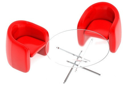 3d two arm-chairs and glass table photo