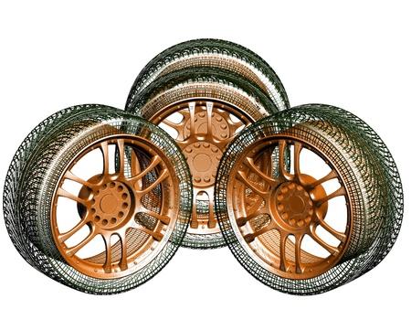 Wheels isolated on white. 3d illustration Stock Illustration - 12051425