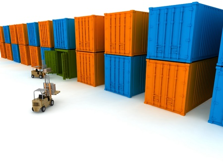 storage container: Loading of boxes is isolated in a container on a white background