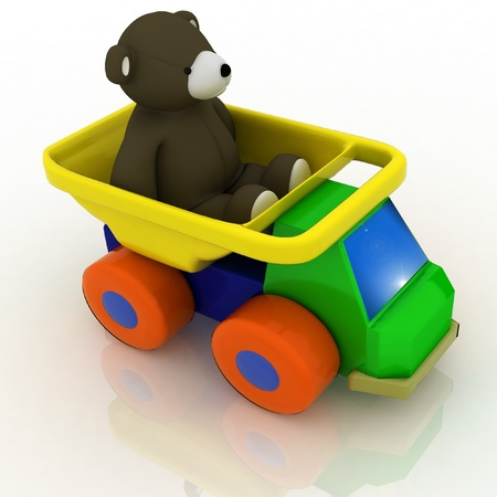toy car with a teddy bear in the back Stock Photo - 12050922