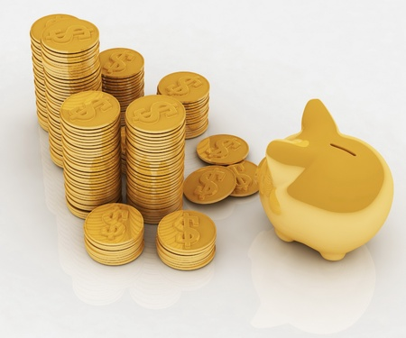 chinks: gold chinks with piggy bank