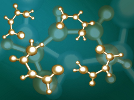 gold molecules on the coloured background photo