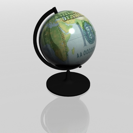 dollar as globe on a white background photo