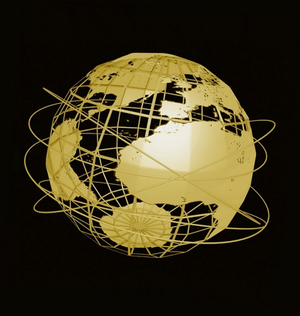 geography: Globe art on the black background