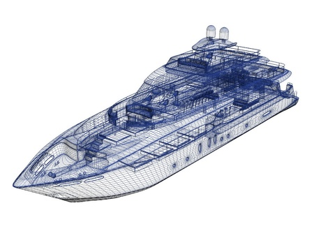 3d model jacht Stockfoto