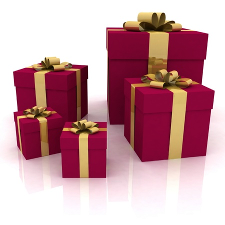 beautiful gift boxes on a white background Stock Photo - 12050566