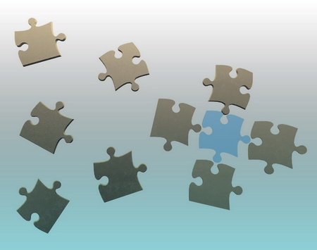 grooves: 3d puzzle flying in space Stock Photo