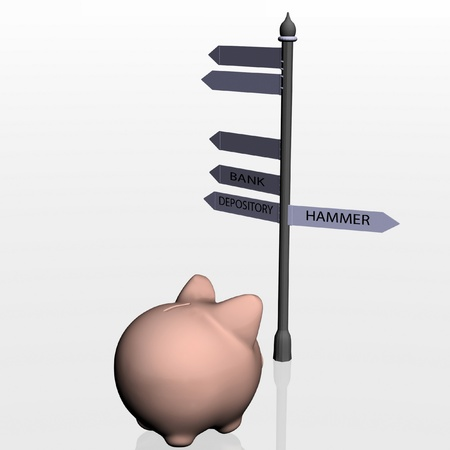 hither: Piggy bank and travelling pointer