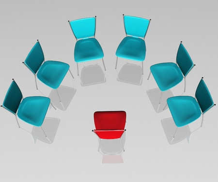 threw: group of chairs costs a half-round