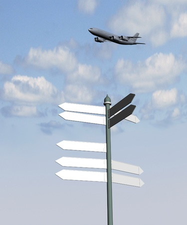Guide sign and plane on a background of blue sky photo