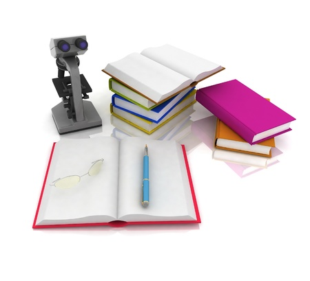 scientific literature: books with a microscope and glasses on white background Stock Photo