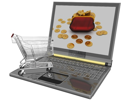 Shopping-cart and laptop isolated. Conception of purchase of commodities on the internet photo