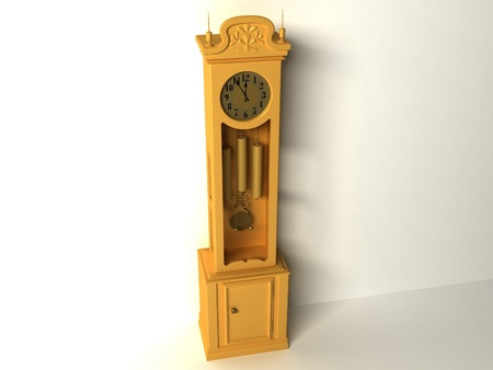 3d old clock  isolated on a white background photo