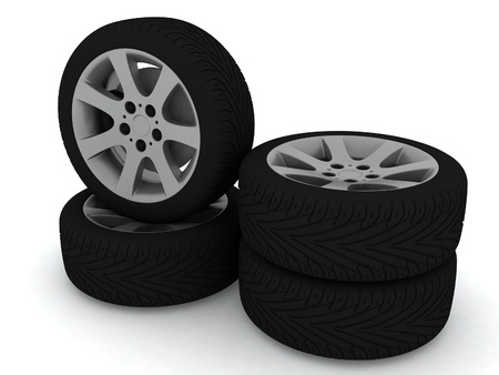 New wheels on white background Stock Photo - 12051730