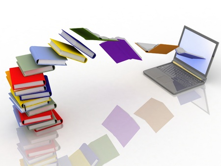 electronic book: books fly into your laptop