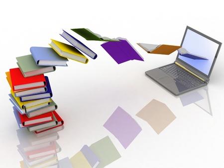 boeken vliegen in uw laptop