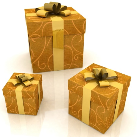 beautiful gift boxes on a white background Stock Photo - 12051860