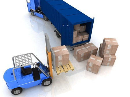 Loading of boxes is isolated in a container on a white background photo