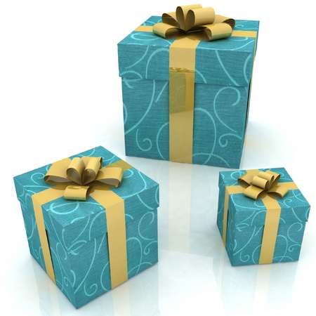 beautiful gift boxes on a white background Stock Photo - 12051857