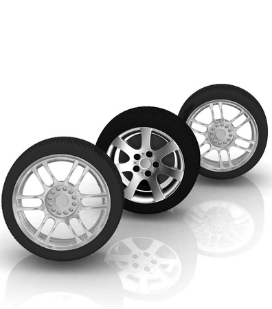 Wheels isolated on white. 3d illustration. Stock Illustration - 12051771