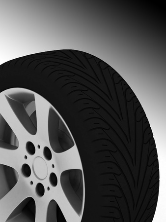 Brand new tire, 3d rendering of car wheel. Stock Photo - 12051823