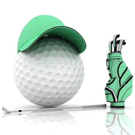 belonging for playing golf on a white background photo