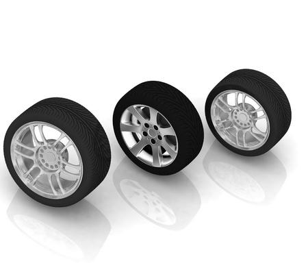 Wheels isolated on white. 3d illustration. Stock Illustration - 12051746