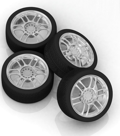 Wheels isolated on white. 3d illustration. Stock Illustration - 12051880