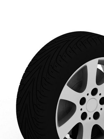Brand new tire, 3d rendering of car wheel. photo