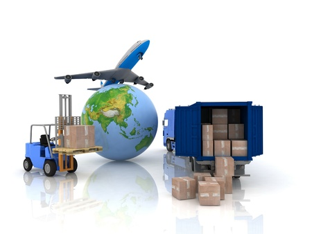 airliner with a globe and auto loader with boxes photo