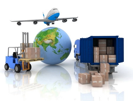 air speed: airliner with a globe and auto loader with boxes Stock Photo