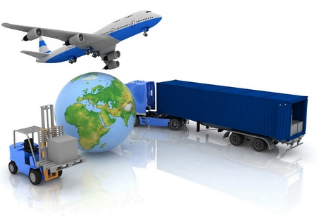 airliner with a globe and auto loader with boxes Stock Photo - 12089590