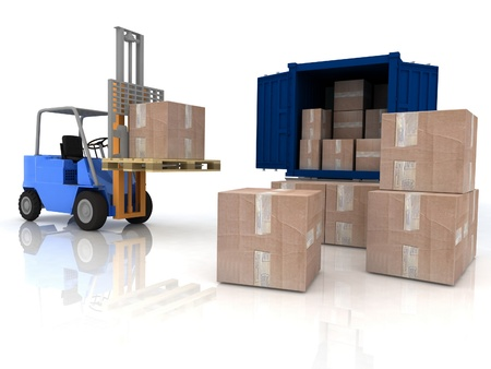 warehouse storage: Loading of boxes is isolated in a container on a white background