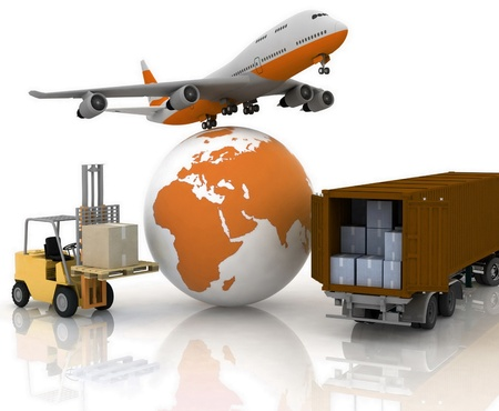 airliner with a globe and autoloader with boxes photo