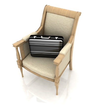briefcases lies in the expensive chair photo