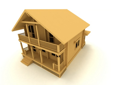wooden house on a white background photo