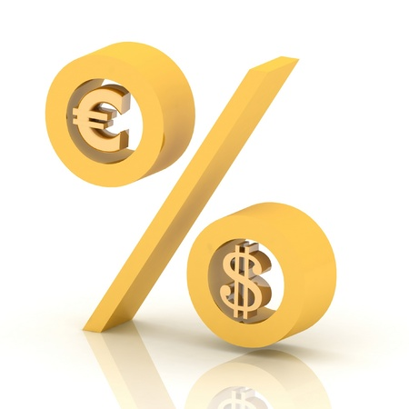 percentage: percent of euro to  dollar Stock Photo