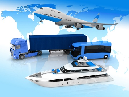 types of transport  on a background map of the world Stock Photo - 12089847