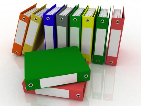 repository: folders for papers on a white background Stock Photo