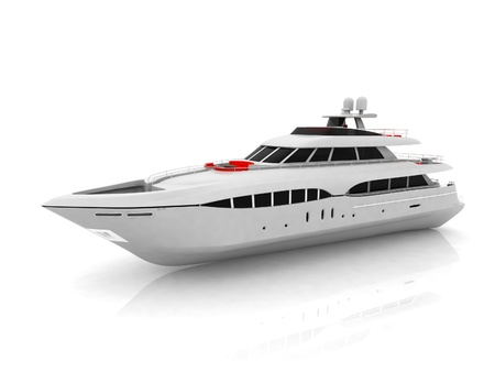 recreation yachts: White pleasure yacht isolated on a white background