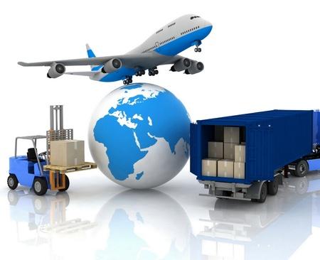 airliner met een wereldbol en autoloader met dozen