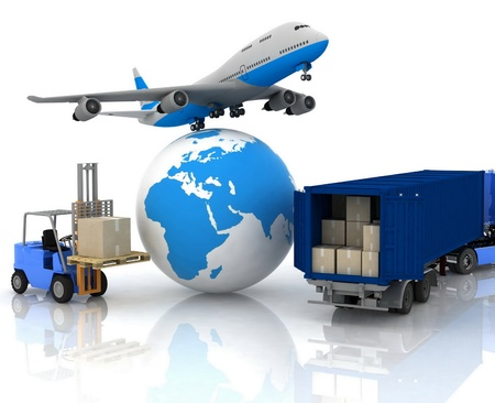 doprava: letadlo se zeměkoulí a Autoloader s boxy Reklamní fotografie