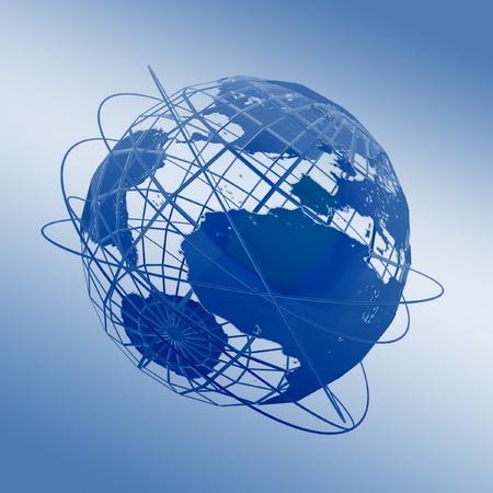 Globe art on the blue background Stock Photo