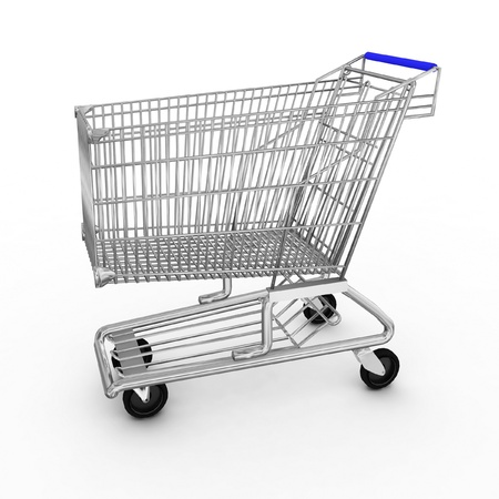 Empty shopping cart isolated on white background Stock Photo - 12090685