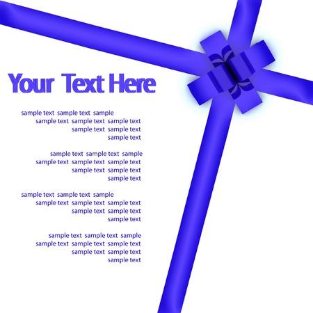 bestowal: Greeting card with a blue ribbon Stock Photo
