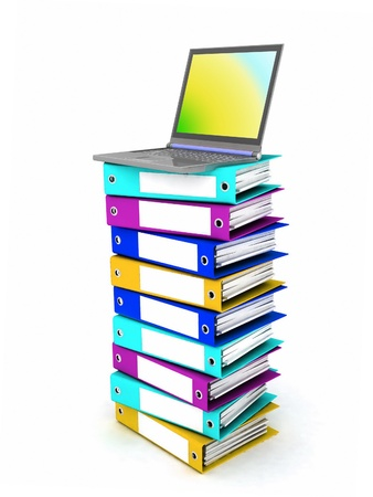 Colorful books next to a modern laptop Stock Photo - 12113749