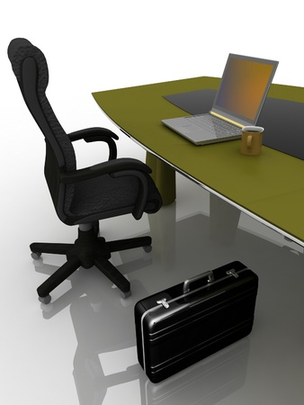 workplace at the table for negotiations Stock Photo