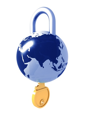 Planet the earth as a lock with a key in it photo