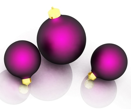 Three christmas balls isolated on white background photo