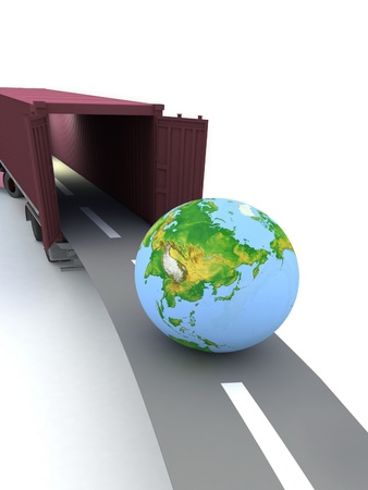 Container with open doors and a globe. We offer international transportation. Stock Photo - 12113558
